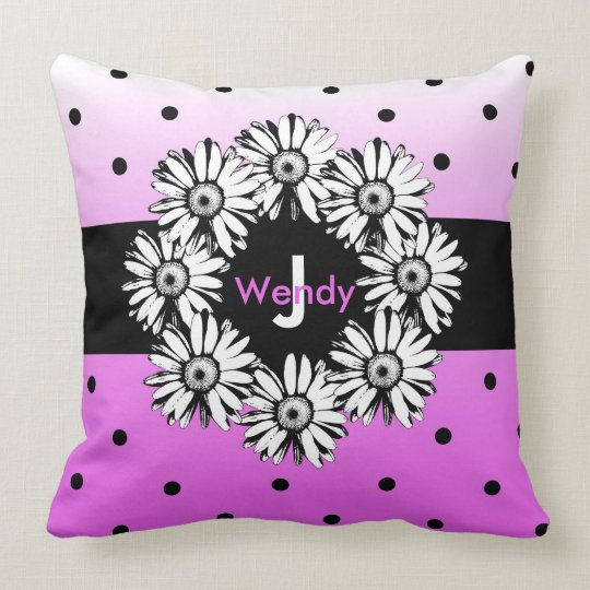 Black & White Daisy Polka Dot Monogram Pillow