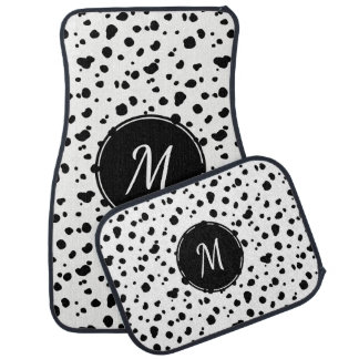Black & White Dalmatian Spots Initial Letter Car Floor Carpet