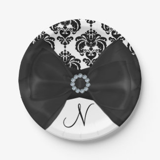Black & White Damask Bling Bow Glam Sweet 16 Party Paper Plate