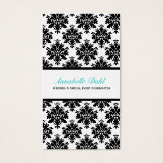 Black & White Damask Business Cards