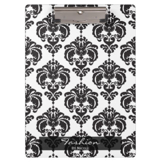 Black White Damask Chic Elegant Glam Personalized Clipboard