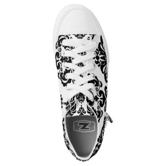 Black & White Damask Chic Modern Elegant Pattern Low-Top Sneakers