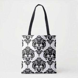 Black & White Damask Chic Modern Elegant Pattern Tote Bag