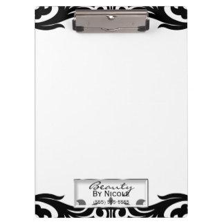 Black White Damask Elegant Glam Personalized Clipboard