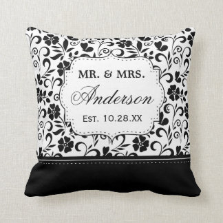 Black White Damask Floral Just Married Wedding Throw Pillow