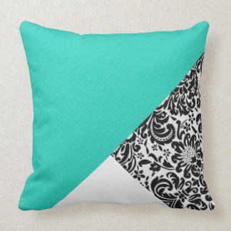 Black White Damask Floral Teal Turquoise Patches Throw Pillow
