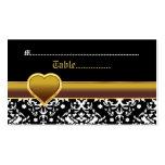 Black white damask gold heart wedding place card