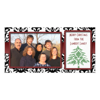 Black & White Damask Green Damask Tree Photo Cards