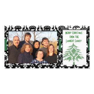 Black & White Damask Green Tree Merry Christmas Custom Photo Card