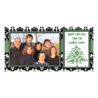 Black & White Damask Green Tree Merry Christmas Photo Greeting Card