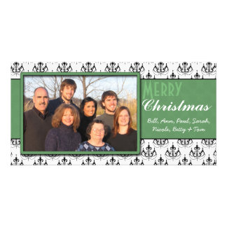 Black & White Damask Green Trim Merry Christmas Personalized Photo Card