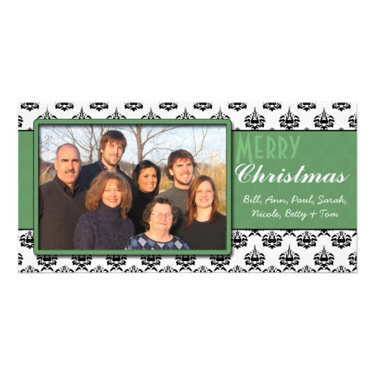 Black & White Damask Green Trim Merry Christmas Photo Card Template