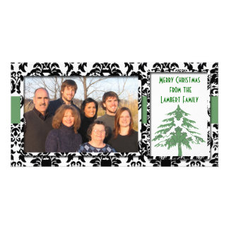 Black & White Damask GreenTree Merry Christmas Photo Card