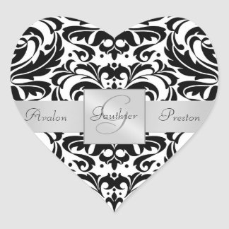 Black & White Damask Heart Wedding Sticker