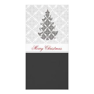 Black  White Damask  Holiday Photo Card Template