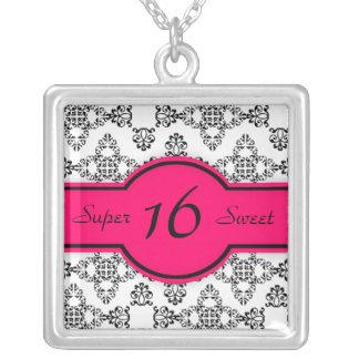 Black White Damask Hot Pink Sweet 16 Necklace