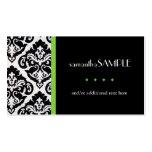 Black & White Damask, Key Lime Business Card