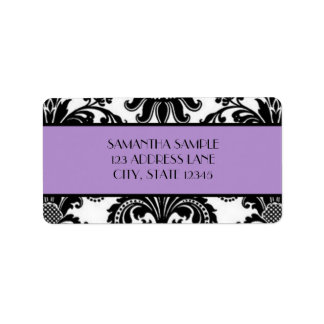 Black White Damask Lavender Custom Address Label