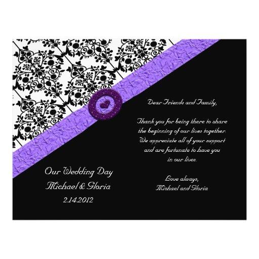Black & White Damask Lavender Sparkle Heart Personalized Flyer