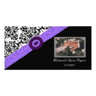 Black & White Damask Lavender Sparkle Heart Photo Cards