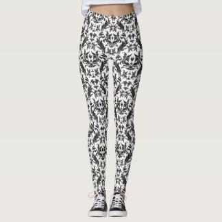Black & White Damask Look Floral Leggings