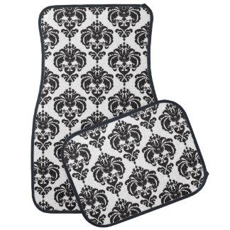 Black & White Damask Modern Trendy Pattern Glam Car Mat