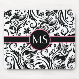 Black White Damask Monogram Mouse Pad