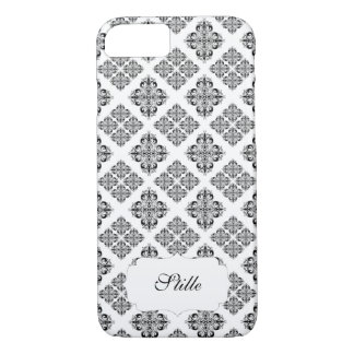 Black White Damask Pattern and Name iPhone 7 Case