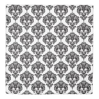 Black & White Damask Pattern Chic Elegant Trendy Duvet Cover