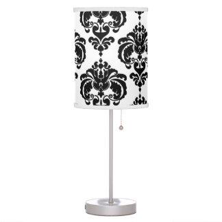 Black & White Damask Pattern Chic Elegant Trendy Table Lamp