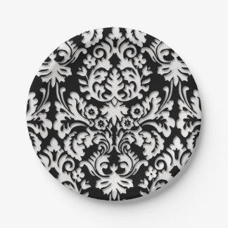 Black & White Damask Pattern Paper Plate