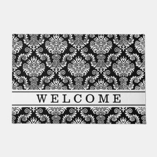 Black & White Damask Pattern{pick your color} Doormat