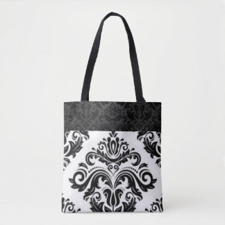 Black White Damask Pattern Print Design Tote Bag