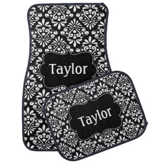 Black White Damask Personalized Car Carpet