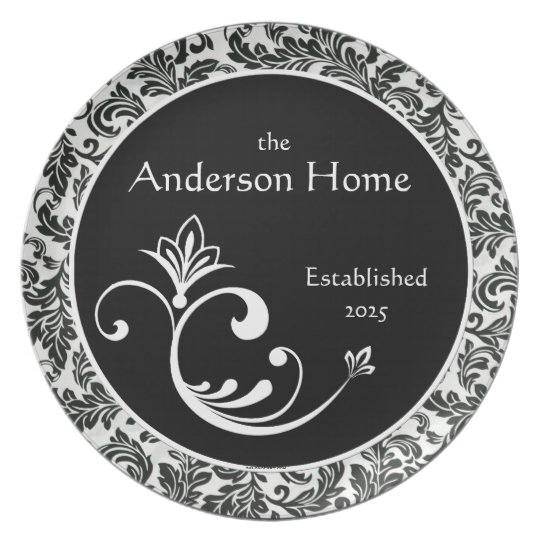 Black & White Damask Personalized Melamineware Plate