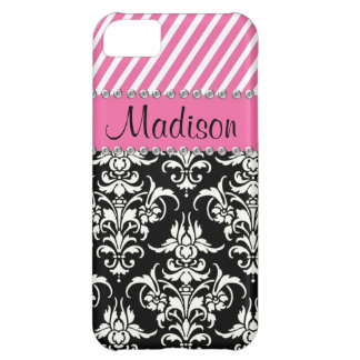Black & White Damask / Pink Stipes Rhinestone Case Cover For iPhone 5C