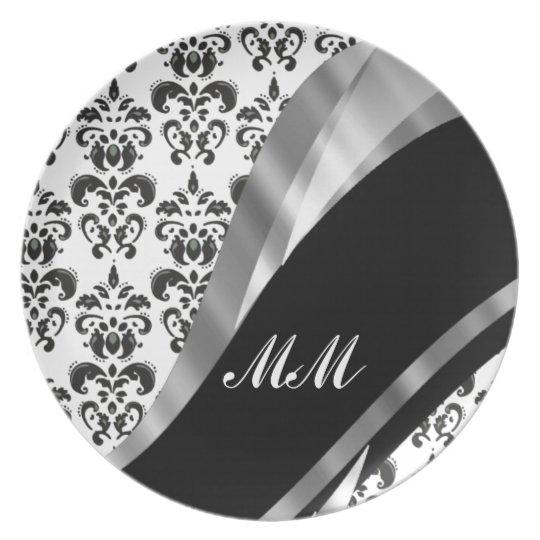 Black & white damask plate