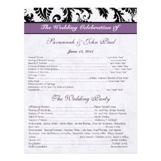 Black & White Damask Purple Band Wedding Program