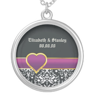 Black white damask purple heart Save the Date Round Pendant Necklace