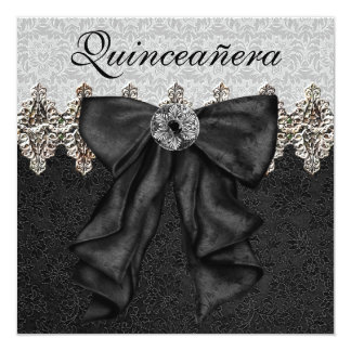 """Black White Damask Quinceanera 5.25"""" Square Invitation Card"""