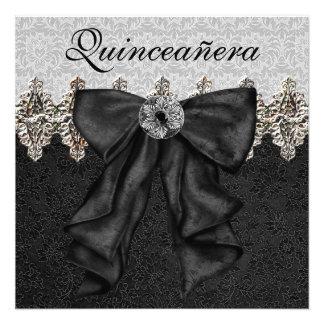 Black White Damask Quinceanera Announcement