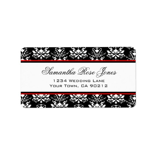 Black & White Damask Red Accent Elegant Address Label