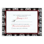 Black & White Damask Red Accent RSVP Custom Invites