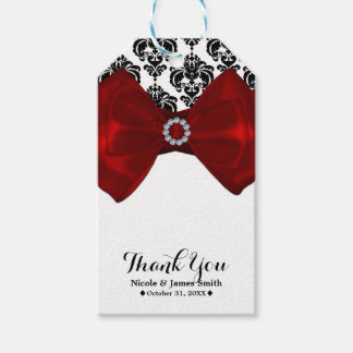 Black & White Damask Red Bow Glam Sweet 16 Party Gift Tags
