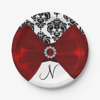 Black & White Damask Red Bow Glam Sweet 16 Party Paper Plate