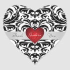 Black & White Damask Red Heart Thank You Sticker