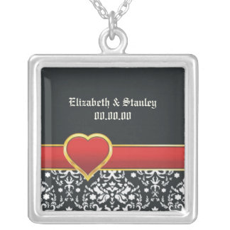 Black white damask red heart wedding Save the Date Square Pendant Necklace