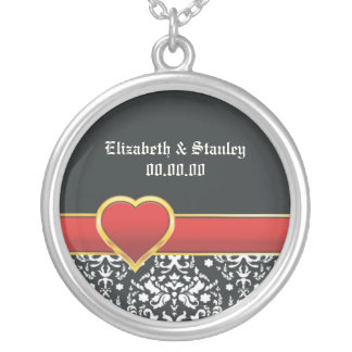 Black white damask red heart wedding Save the Date Round Pendant Necklace