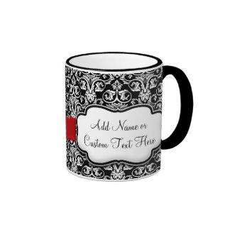 Black/White Damask Red Ribbon Coffee Mug