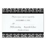 Black White Damask RSVP Wedding Card Personalized Invites